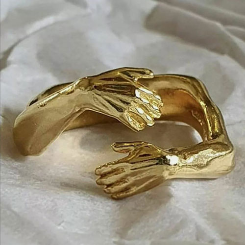 Gold plated hand ring